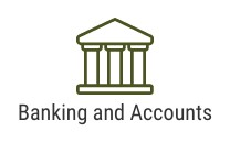 Bank icon and words that say banking and accounts
