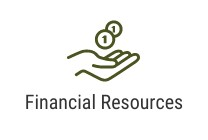 Hands holding money and text that says financial resources