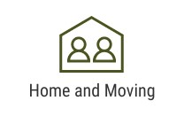 House icon with two people and text that says Home and Moving
