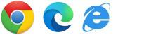 Logos for Chrome, Edge, and Internet Explorer