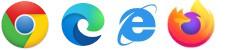 Logos for Chrome, Edge, Firefox, and Internet Explorer